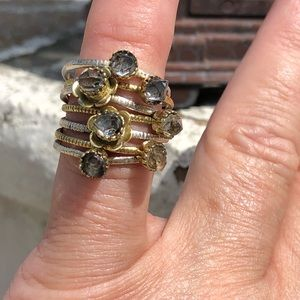Jewelry - Stack Two-Tone Herkimer Sterling Silver Ring Sz 7